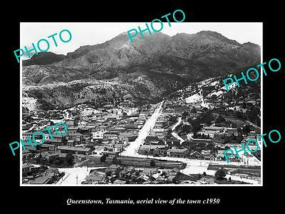 OLD LARGE HISTORIC PHOTO OF QUEENSTOWN TASMANIA, AERIAL VIEW OF THE TOWN c1950