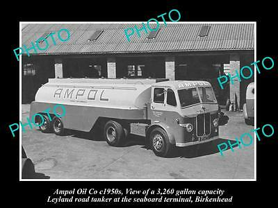 OLD LARGE HISTORIC PHOTO OF AMPOL OIL Co, LEYLAND PETROL TANKER c1950s