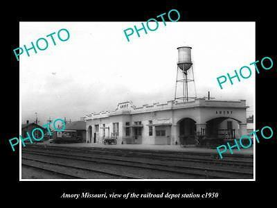 OLD LARGE HISTORIC PHOTO OF AMORY MISSOURI, THE RAILROAD DEPOT STATION c1950