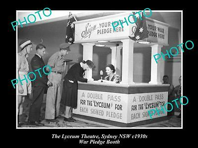 OLD LARGE HISTORIC PHOTO OF THE LYCUEM THEATRE, SYDNEY c1930s, WAR PLEDGE BOOTH