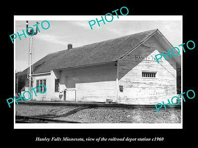 OLD LARGE HISTORIC PHOTO OF HANLEY FALLS MINNESOTA, RAILROAD DEPOT STATION c1960