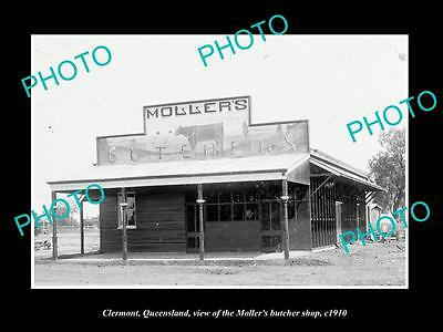 OLD LARGE HISTORIC PHOTO OF CLERMONT QUEENSLAND, THE MOLLERS BUTCHER SHOP c1910