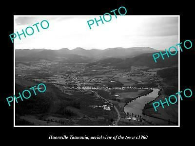 OLD LARGE HISTORIC PHOTO OF HUONVILLE TASMANIA, AERIAL VIEW OF THE TOWN c1960 2