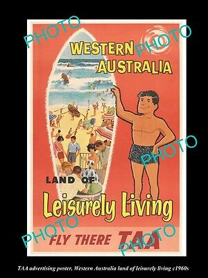 OLD LARGE HISTORIC PHOTO OF THE TAA AIRLINE WEST AUSTRALIA TOURISM POSTER c1960