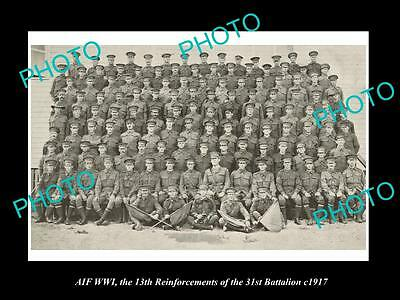 OLD LARGE HISTORIC PHOTO OF WWI AUSTRALIAN ANZAC SOLDIERS, 31st BATTALION c1917
