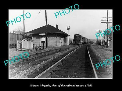 OLD LARGE HISTORIC PHOTO OF WARREN VIRGINIA, THE RAILROAD STATION c1960