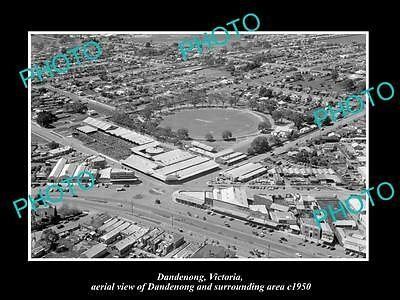 OLD LARGE HISTORIC PHOTO OF DANDENONG VICTORIA, AERIAL VIEW & SURROUNDS c1950