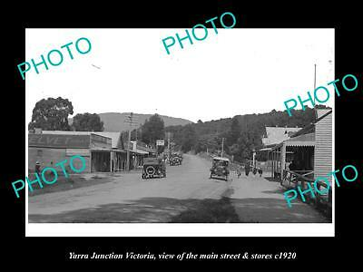 OLD LARGE HISTORIC PHOTO OF YARRA JUNCTION VICTORIA, MAIN St & STORES c1920 1