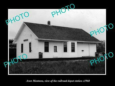 OLD LARGE HISTORIC PHOTO OF AVON MONTANA, THE RAILROAD DEPOT STATION c1960