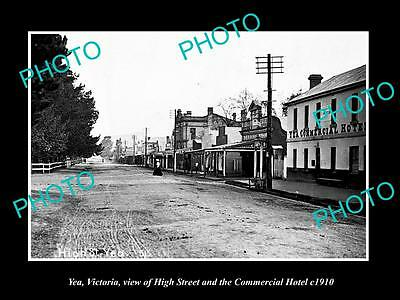 OLD LARGE HISTORIC PHOTO OF YEA VICTORIA, VIEW OF THE HIGH STREET STORES c1910 1