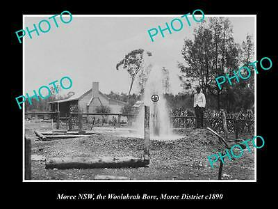 OLD LARGE HISTORIC PHOTO OF MOREE NSW, THE WOOLABRAH BORE c1900