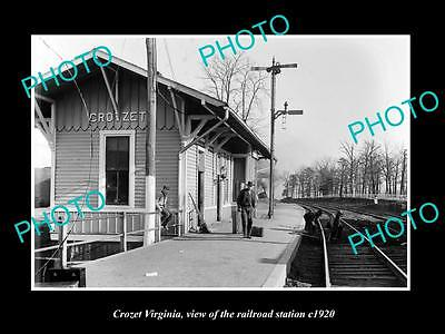 OLD LARGE HISTORIC PHOTO OF CROZET VIRGINIA, VIEW OF THE RAILROAD STATION c1920