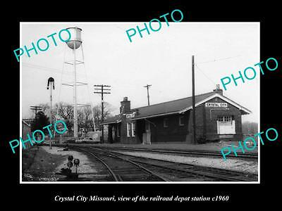 OLD LARGE HISTORIC PHOTO OF CRYSTAL CITY MISSOURI, THE RAILROAD DEPOT c1960