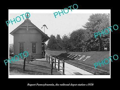 OLD LARGE HISTORIC PHOTO OF RUPERT PENNSYLVANIA, THE RAILROAD STATION c1920