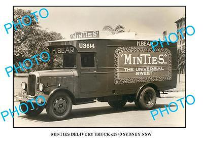 OLD LARGE PHOTO OF MINTIES SWEETS TRUCK c1940 NSW
