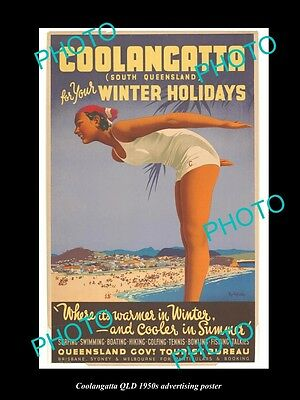 OLD LARGE HISTORIC PHOTO OF COOLANGATTA QUEENSLAND, 1950s TOURISM POSTER