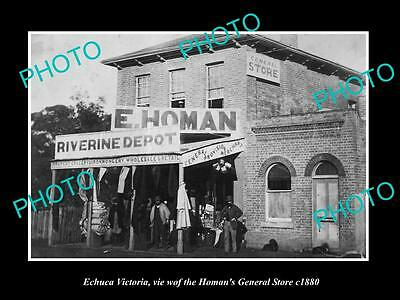 OLD LARGE HISTORIC PHOTO OF ECHUCA VICTORIA, VIEW OF HOMANS GENERAL STORE c1880