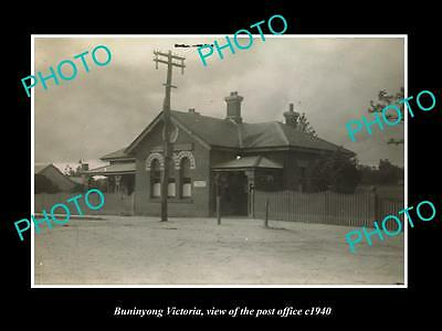 OLD LARGE HISTORIC PHOTO OF BUNINYONG VICTORIA, VIEW OF THE POST OFFICE c1940