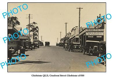 OLD LARGE PHOTO, GLADSTONE QUEENSLAND, VIEW OF GONDOON STREET c1930