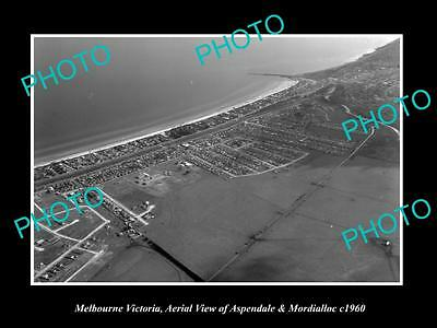 OLD LARGE HISTORIC PHOTO OF MELBOURNE VICTORIA, MORDIALLOC & ASPENDALE c1960