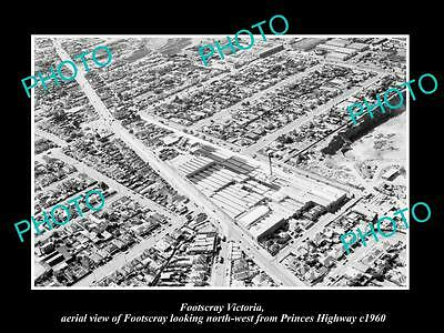 OLD LARGE HISTORIC PHOTO OF FOOTSCRAY VICTORIA, AERIAL VIEW & SURROUNDS c1960