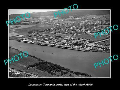OLD LARGE HISTORIC PHOTO OF LAUNCESTON TASMANIA, AERIAL VIEW OF THE WHARF c1960