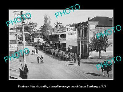 OLD LARGE HISTORIC PHOTO OF BUNBURY WEST AUSTRALIA, WWI SOLDIER MARCH c1919
