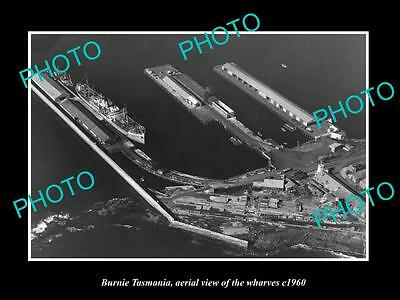 OLD LARGE HISTORIC PHOTO OF BURNIE TASMANIA, AERIAL VIEW OF THE  WHARVES c1960