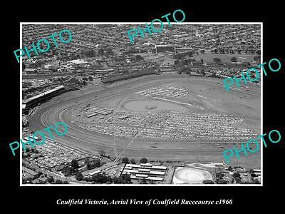 OLD LARGE HISTORIC PHOTO OF CAULFIELD VICTORIA, AERIAL VIEW OF RACE TRACK c1960