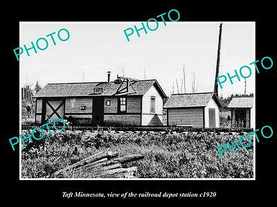OLD LARGE HISTORIC PHOTO OF TAFT MINNESOTA, THE RAILROAD DEPOT STATION c1920