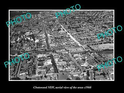 OLD LARGE HISTORIC PHOTO OF CHATSWOOD NSW, AERIAL VIEW OF THE AREA c1960