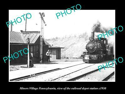 OLD LARGE HISTORIC PHOTO OF MINERS VILLAGE PENNSYLVANIA THE RAILROAD DEPOT c1930