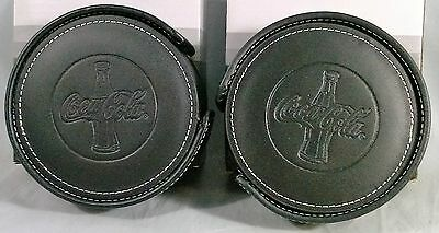 Coca Cola Genuine Black Leather Coasters With Holder 2 Sets Of 4 Nib