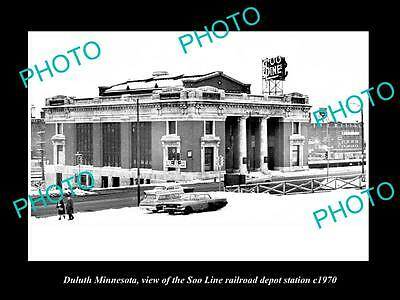 OLD LARGE HISTORIC PHOTO OF DULUTH MINNESOTA, THE SOO LINE RAILROAD DEPOTc1970