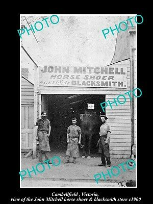 OLD LARGE HISTORIC PHOTO OF CAMBELLFIELD VICTORIA, THE BLACKSMITH SHOP c1900