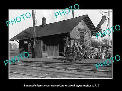 OLD LARGE HISTORIC PHOTO OF LAWNDALE MINNESOTA, THE RAILROAD DEPOT STATION c1920