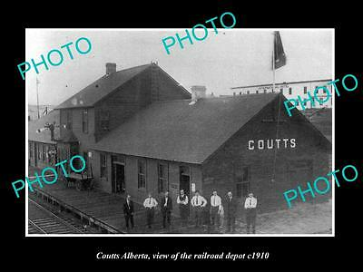 OLD LARGE HISTORIC PHOTO OF COUTTS ALBERTA, THE RAILROAD DEPOT STATION c1910