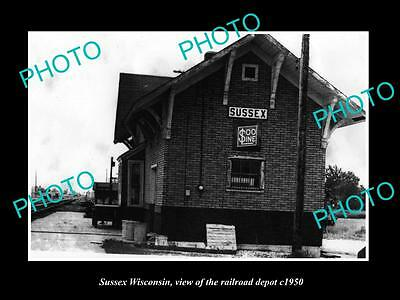 OLD LARGE HISTORIC PHOTO OF SUSSEX WISCONSIN, THE RAILROAD DEPOT STATION c1950