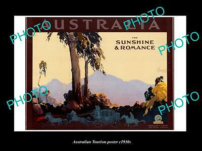 OLD LARGE HISTORIC PHOTO OF 1930s AUSTRALIAN TOURISM POSTER, SUN & ROMANCE