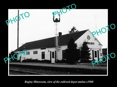 OLD LARGE HISTORIC PHOTO OF BAGLEY MINNESOTA, THE RAILROAD DEPOT STATION c1960