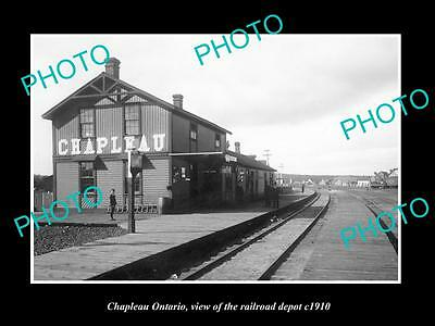 OLD LARGE HISTORIC PHOTO OF CHAPLEAU ONTARIO, THE RAILROAD DEPOT STATION c1910