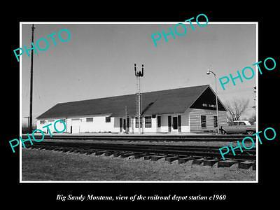 OLD LARGE HISTORIC PHOTO OF BIG SANDY MONTANA, THE RAILROAD DEPOT STATION c1960