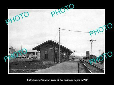 OLD LARGE HISTORIC PHOTO OF COLUMBUS MONTANA, THE RAILROAD DEPOT STATION c1910
