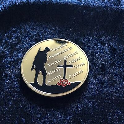 World War 1 Gold Coin Union Jack Poppy Remembrance Plane Tank Trench Army (13)