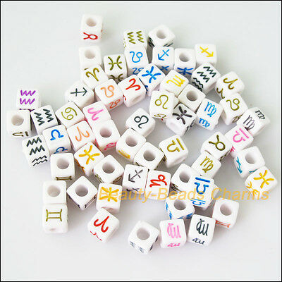 35Pcs White Acrylic Plastic Square Mixed Constellation Spacer Beads Charms 7mm