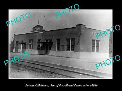 OLD LARGE HISTORIC PHOTO OF POTEAU OKLAHOMA, THE RAILROAD DEPOT STATION c1940