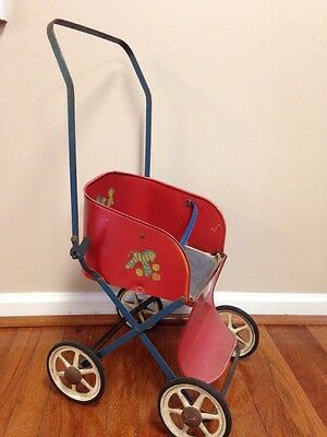 VINTAGE 1940'S MUSKIN TOY METAL DOLL STROLLER Red Foldable Child's Toy decor