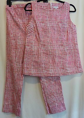 A Pea In The Pod M Red White Geometric Two Piece Maternity Pant Suit