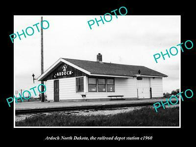 OLD LARGE HISTORIC PHOTO OF ARDOCH NORTH DAKOTA, THE RAILROAD STATION c1960