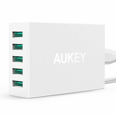 AUKEY USB Charger 50W/10A 5 Ports with AiPower for Apple/Android Devices (White)